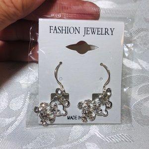 Jewelry - Silver teddy bear earrings with rhinestones